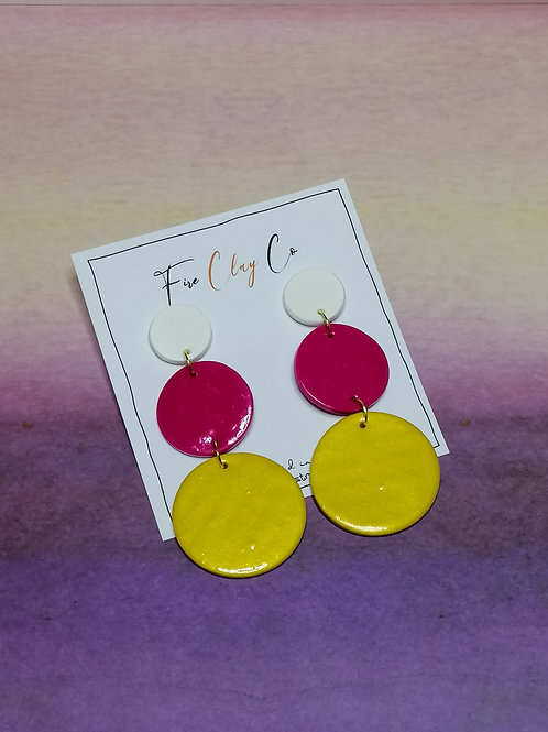 Fire Clay Co Carnival Drop Earrings White, Fuchsia and Gold.
