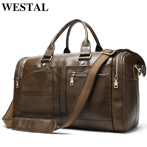 WESTAL Men's Travel Bag Genuine Leather Duffle Bag Men's Overnight/ Weekend Bag
