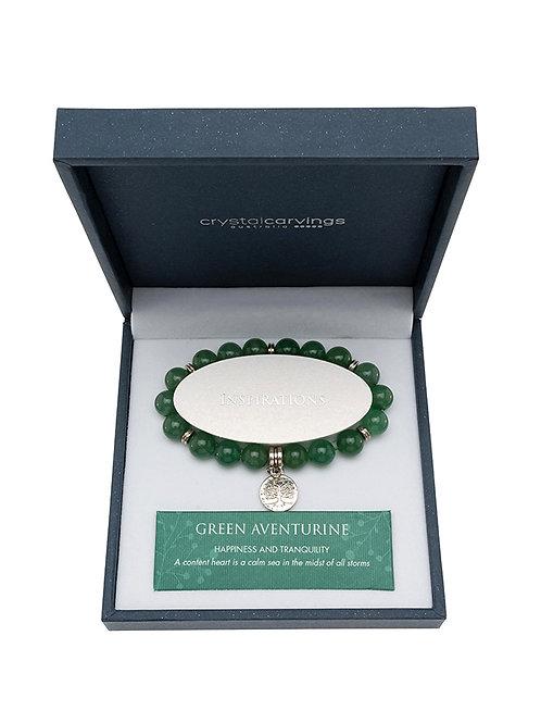Green Aventurine Tree of Life Charm Bracelet Boxed