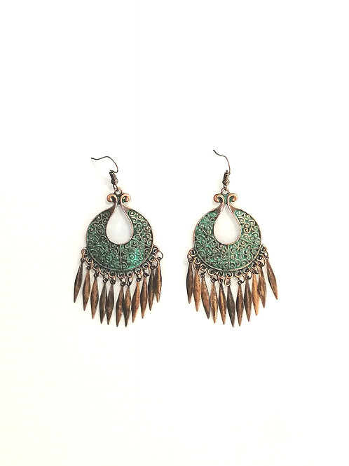 Lucy Earrings Bronze & Teal