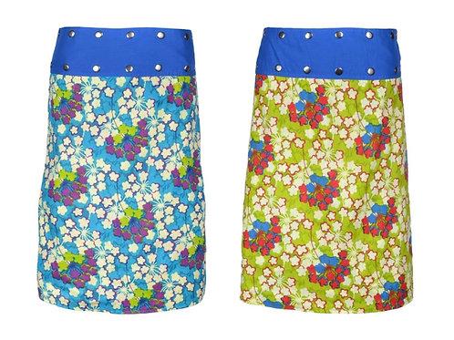 Reversible cotton wrap skirt Blossom