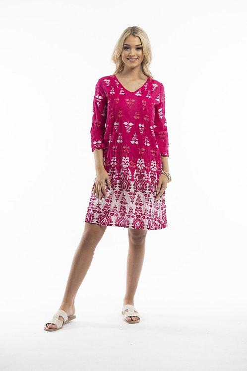 ONE SUMMER ezy fit cotton dress fuschia