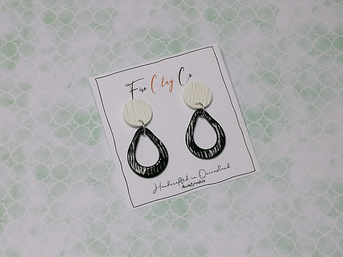 Fire Clay Co Davina Drop Earrings Olive and White