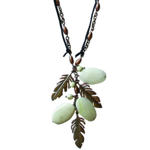 Leaf Necklace White