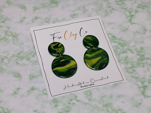 Fire Clay Co Candy Drop Earrings Green Marble