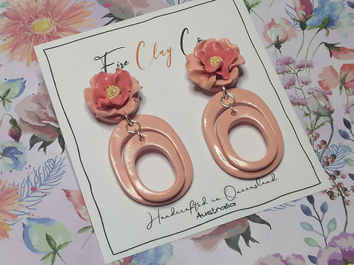 Fire Clay Co Hannah Drop Earrings Peach