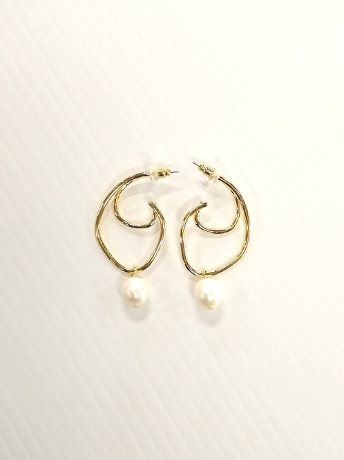 Eclipse Earrings Gold, Freshwater Pearls