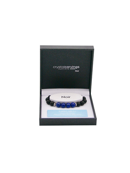 Lapis Lazuli & Black Agate Bracelet