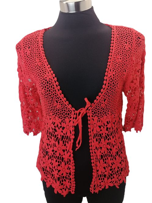 Red lace cotton jacket