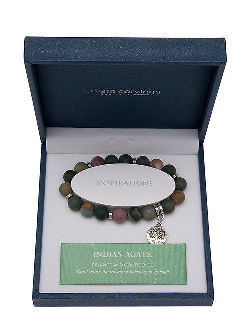 Indian Agate Matte Tree Of Life Charm Bracelet Boxed