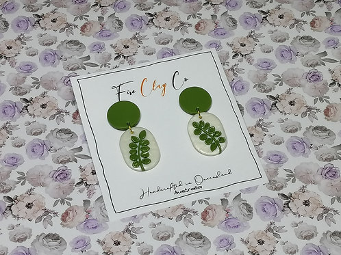 Fire Clay Co Vines Earrings Olive and White