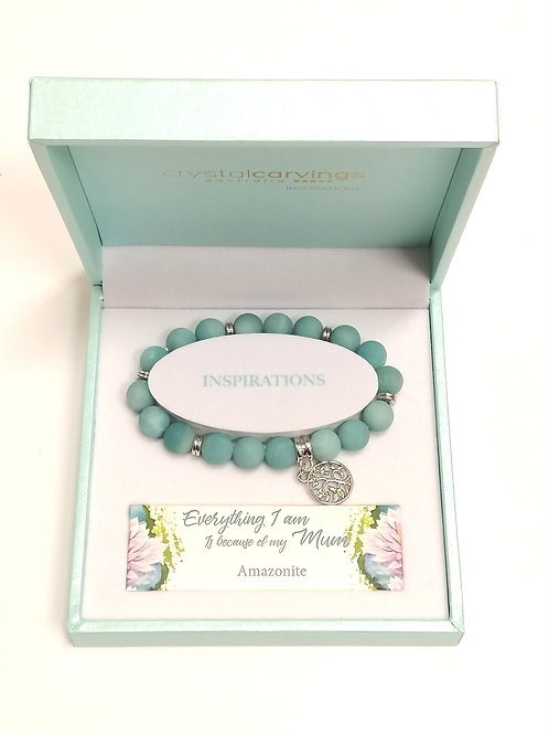 Amazonite Matte Limited Edition Tree of Life Charm Bracelet Boxed