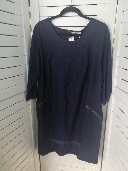 Plus Size Stretch Knit Tunic Dress Navy