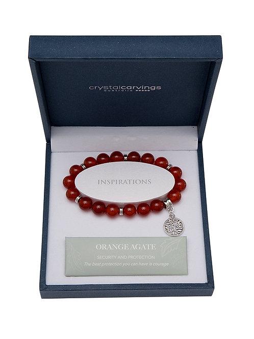 Orange Agate Tree Of Life Charm Bracelet Boxed