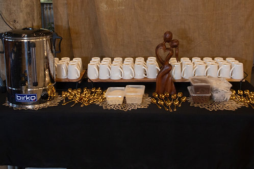 100 White Coffee Mugs + Urn HIRE