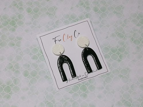 Fire Clay Co Billie Long Drop Earrings Olive and White