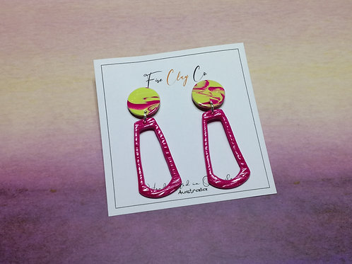 Fire Clay Co Harper Drop Earrings Fuchsia and Lime