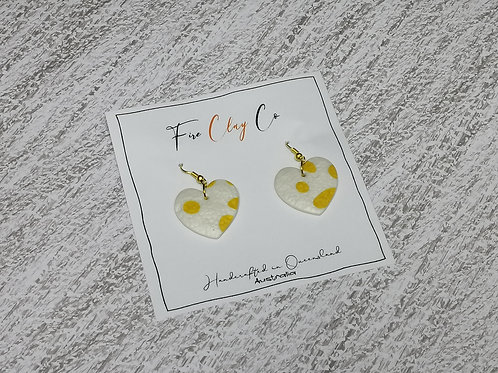 Fire Clay Co Whimsy Earrings Yellow and White