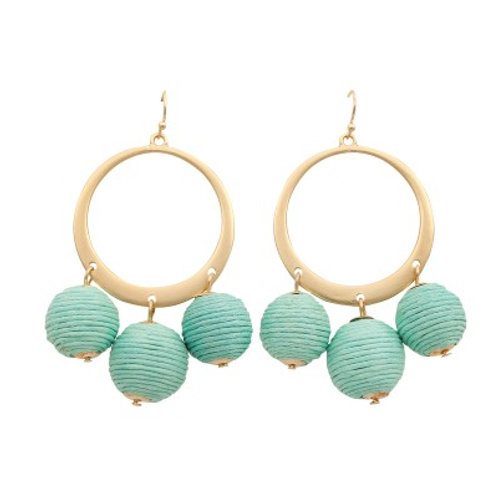 Candy drop earrings gold & sea green