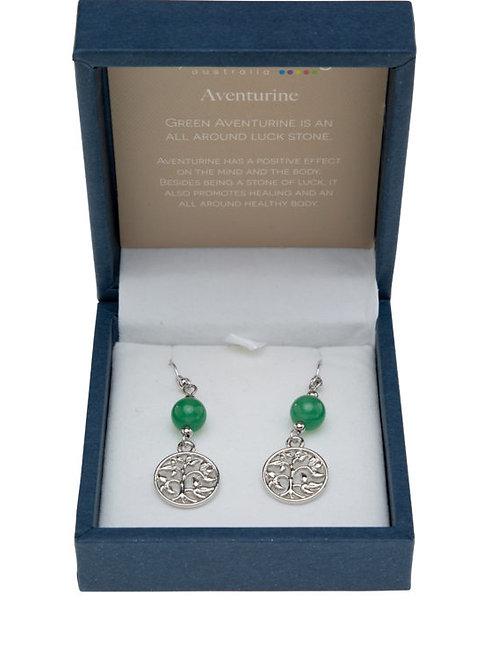 Green Aventurine Tree of Life Earrings