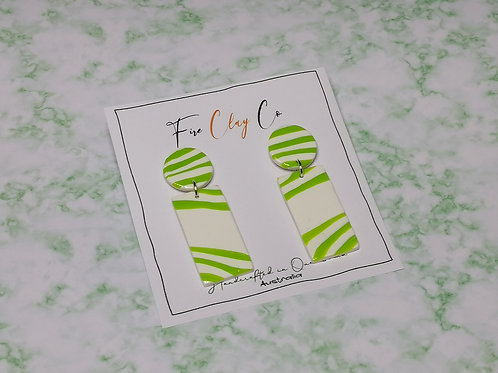 Fire Clay Co Zebra Earrings Lime and White