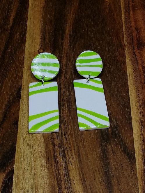 Wild and Free Lime  Zebra drop earrings