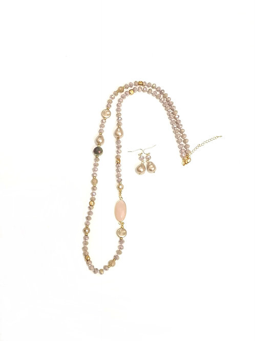 Blush pink & gold necklace & earrings set