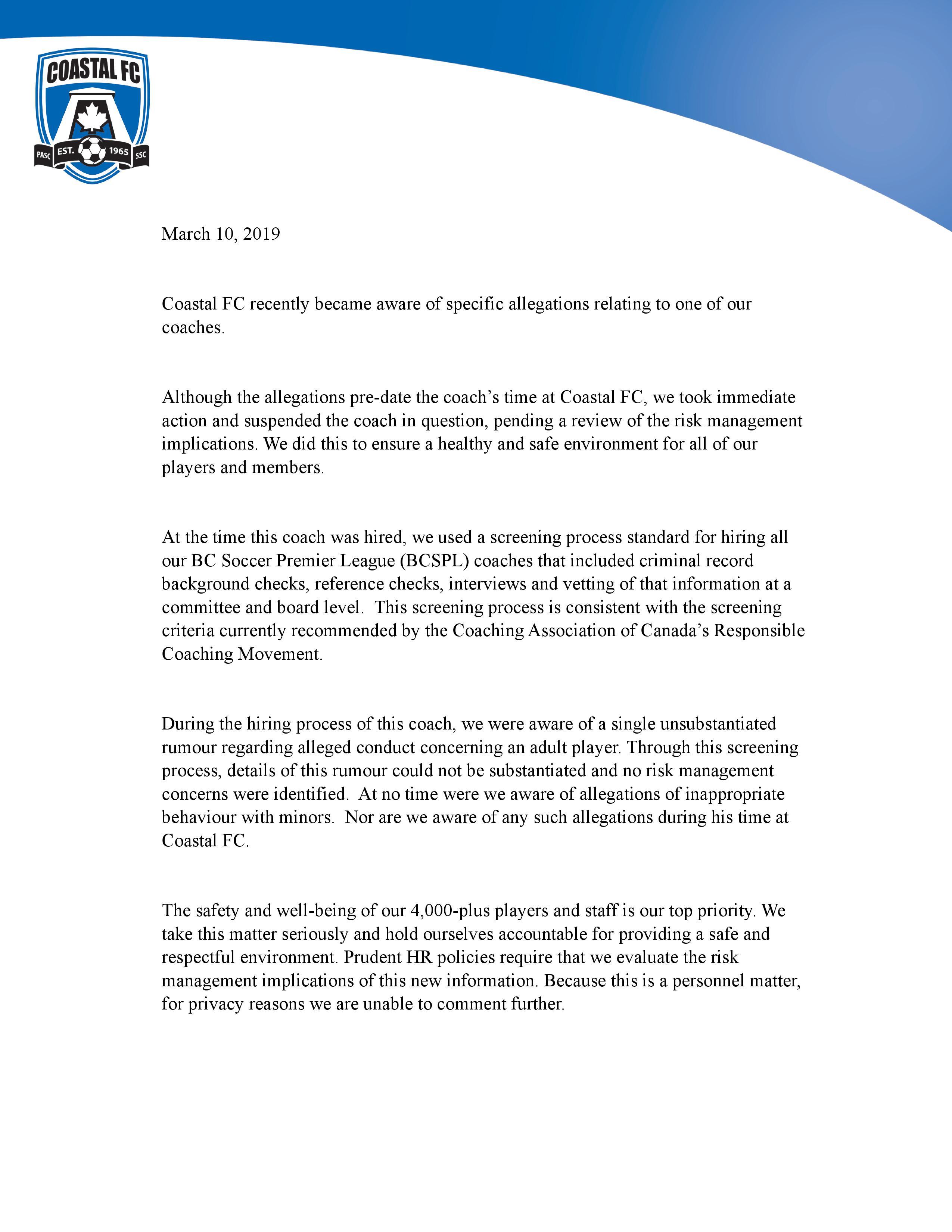 Coastal FC Statement   Coastal FC   Home