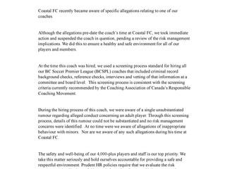 Coastal FC Statement