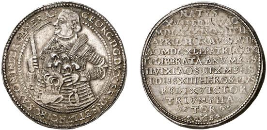 Nr. 2306: BRAUNSCHWEIG-CALENBERG-HANNOVER. Georg (1636–1641). Doppelter Reichstaler 1641, Zellerfeld, auf seinen Tod. Vorzüglich-Stempelglanz. Taxe: 20 000,– Euro