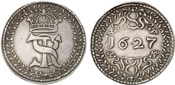 Nr. 1186: POLEN. Sigismund III. (1587–1632). Reichstaler 1627, Bromberg. Sehr selten. Sehr schön. Taxe: 35 000,– Euro