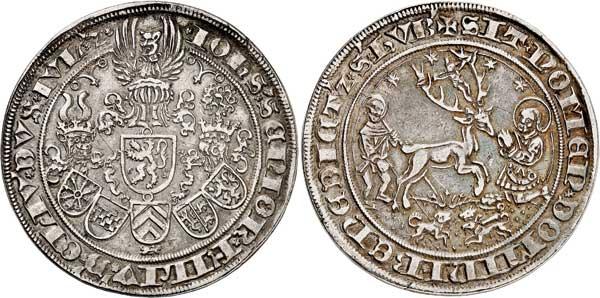 Nr. 5512: JÜLICH-BERG. Johann III. (1511–1539). Guldengroschen o. J., Münzstätte vermutlich. Mühlheim. Äußerst selten. Sehr schön bis vorzüglich. Taxe: 60 000,– Euro