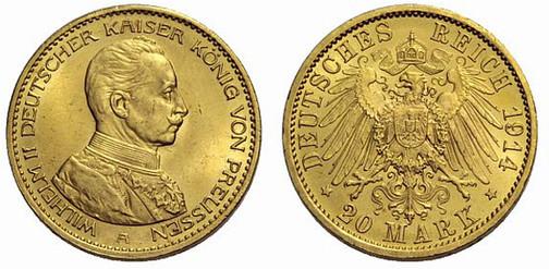 Deutsches Reich, Kaiser Wilhelm II., reg. 1888–1918, 20 Mark (Gold), Berlin 1914
