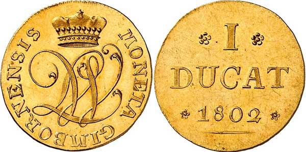 Nr. 8279: WALLMODEN-GIMBORN. Johann Ludwig (1782–1806). Dukat 1802, Hannover. Nur 400 Stück geprägt. Vorzüglich bis Stempelglanz. Taxe: 15 000,–Euro