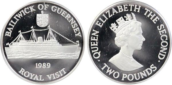 2 Pounds 1989, Besuch von Königin Elisabeth II. auf Guernsey, Silber 925er, 28,28 g, Ø 38,61 mm