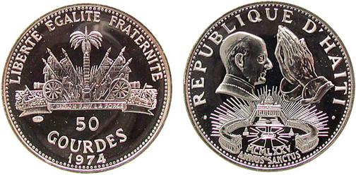 50 Gourdes 1974, Heiliges Jahr 1975, Silber 925er, 16,75 g, Ø 38 mm