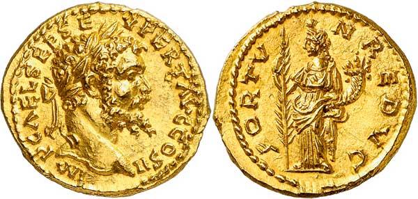 Nr. 2926: ROM. Septimius Severus (193–211). Aureus 194, Emesa. Aus Sammlung Egon Beckenbauer, Auktion Kastner 10 (1976), Nr. 168. Äußerst selten. Stempelglanz.  Taxe: 35 000,– Euro