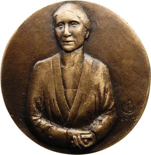"Marie-Luise Bauerschmidt, Medaille ""Lise Meitner"", 2014, Bronze, Ø 90 mm, Avers"