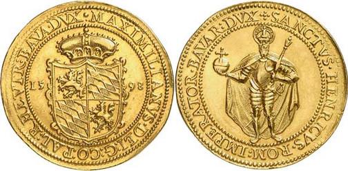 Nr. 7702: BAYERN. Maximilian I. (1598–1651). 8 Dukaten 1598, München, auf seine Huldigung. Sehr selten. Vorzüglich. Spezialsammlung Bayern. Taxe: 30 000,– Euro