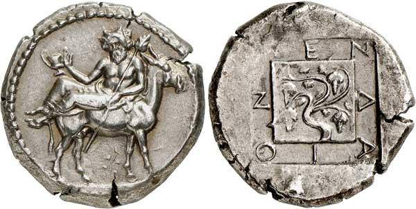 Nr. 2188: Mende (Makedonien). Tetradrachme, um 423. Aus Sammlung Margaretha Ley, Auktion Numismatik Lanz 70 (1994), Nr. 51. Sehr selten. Vorzüglich. Taxe: 40 000,– Euro