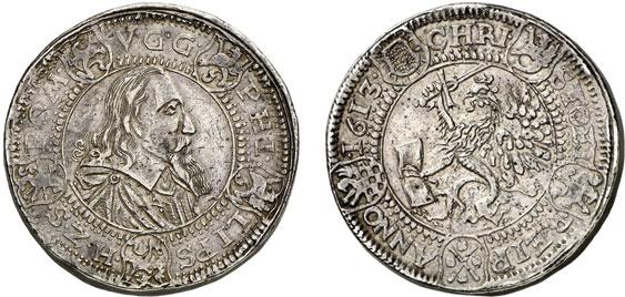 Nr. 2977: POMMERN-STETTIN. Philipp II. (1606–1618). Dreifacher Reichstaler 1613, Stettin. Wohl Unikum. Sehr schön. Taxe: 30 000,– Euro