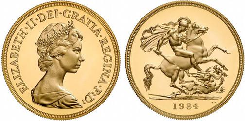 5 Sovereigns 1984, Gold 916,67 fein, 39,94 g, Ø 36,02 mm