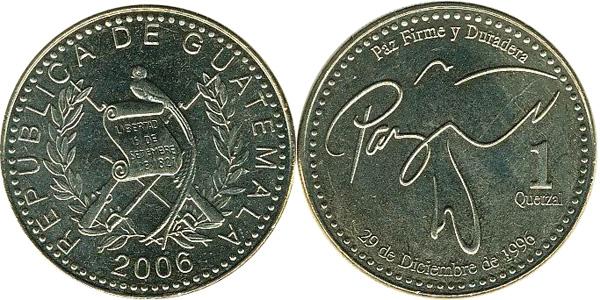 1 Quetzal 2006, Kursmünze, Nickel-Messing, 11,00 g, Ø 29 mm
