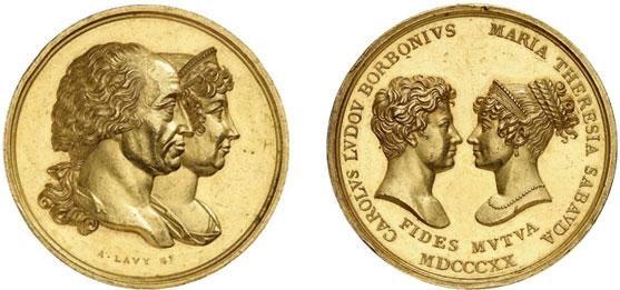 Nr. 6161: SARDINIEN. Victor Emanuel I.( (1802–1821). Goldmedaille zu 15 Dukaten 1820 von A. Lavy auf die Vermählung der Tochter Maria Theresia mit Karl Ludwig von Bourbon. Äußerst selten. Vorzüglich.  Taxe: 25 000,– Euro