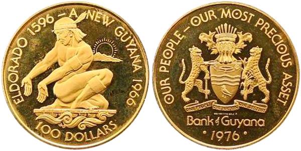100 Dollars 1976, 10 Jahre Unabhängigkeit/Legendärer Häuptling El Dorado, Gold 500er, 5,74 g, Ø 25,25 mm