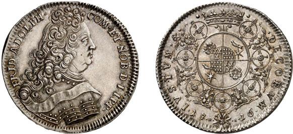 Nr. 4227: LIPPE. Friedrich Adolf (1697–1718). Reichstaler 1716, Detmold. Äußerst selten. Vorzüglich. Taxe: 6000,– Euro