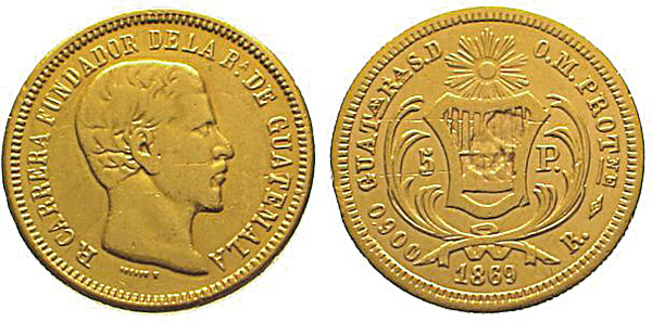 5 Pesos 1869, Kursmünze, Gold 875er, 6,767 g, Ø um 21 mm