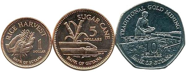 1, 5 und 10 Dollars 2005 bzw. 2007, Kursmünzen, 1 $:  Eisen, Kupfer galvanisiert, 2,4 g, Ø 17 mm; 5 $: Eisen, Kupfer galvanisiert, 3,75 g, Ø 20,5 mm; 10 $: Eisen, Nickel galvanisiert, siebeneckig, 5 g, Ø 23 mm – Rückseiten