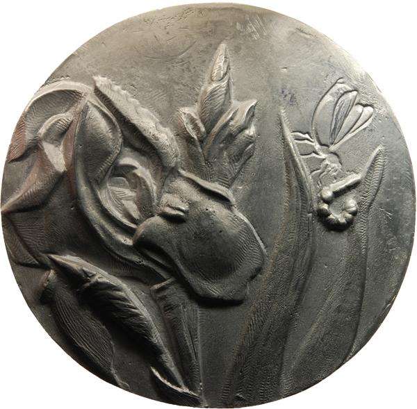 "Kornelia Thümmel, Medaille ""Maria Sibylla Merian"", 2017, Zinn, Ø 155 mm, Avers"