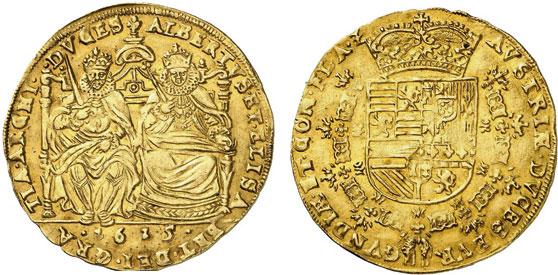 Nr. 527: FLANDERN. Albert und Isabella von Spanien (1598–1621). Dritte Emission. 2 Souverain d'or 1615, Brügge. Sehr selten. Vorzüglich. Taxe: 4000,– Euro